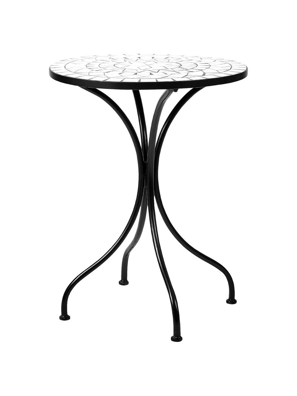 Gartentisch Palazzo mit Mosaik, Tischplatte: Keramik-Mosaiksteine, Beine: Metall, pulverbeschichtet, Weiß, Schwarz, Ø 55 x H 71 cm