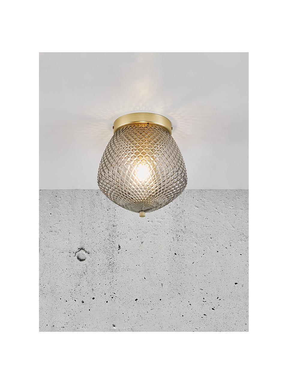 Kleine Deckenleuchte Orbiform aus Glas, Lampenschirm: Glas, Baldachin: Metall, beschichtet, Messingfarben, Grau, transparent, Ø 23 x H 25 cm