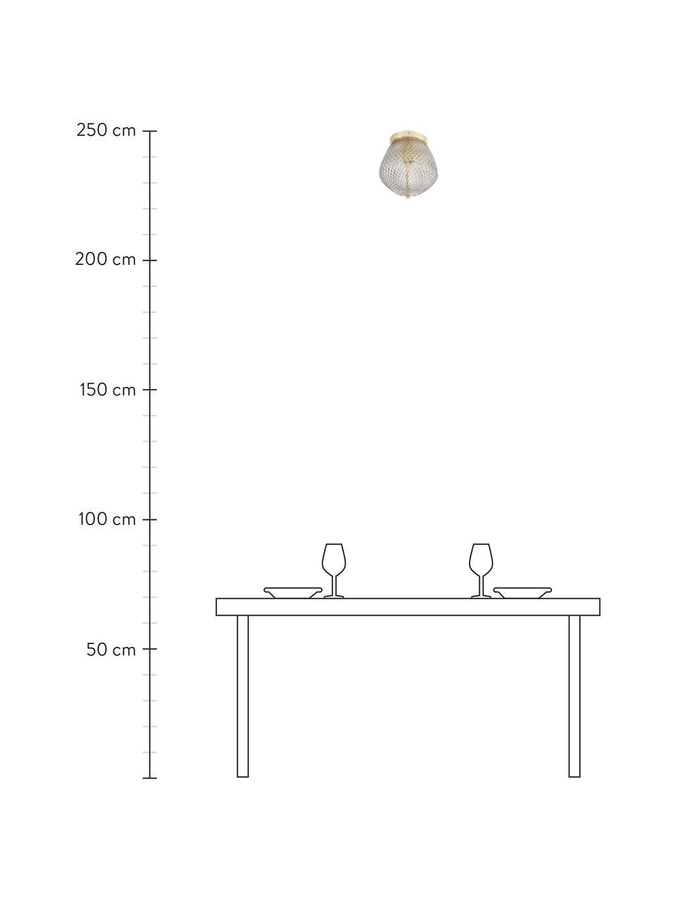 Plafoniera piccola in vetro Orbiform, Paralume: vetro, Baldacchino: metallo rivestito, Ottonato, grigio, trasparente, Ø 23 x Alt. 25 cm