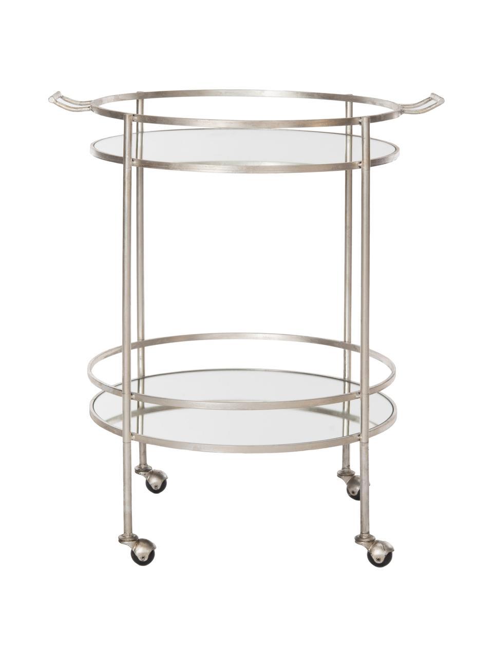 Carrello di servizio in metallo Harper, Struttura: ferro, con finitura antic, Struttura: Metallo Piatto: vetro a specchio, Larg. 64 x Prof. 50 cm