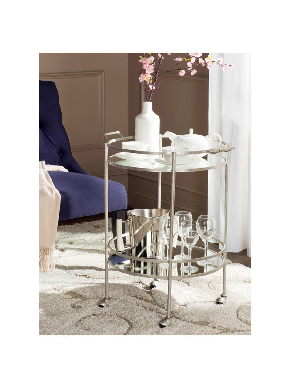 Wózek barowy z metalu  Harper, Żeliwo, szkło, Stelaż: metal blat: szkło lustrzane, 64 x 50 x 76 cm