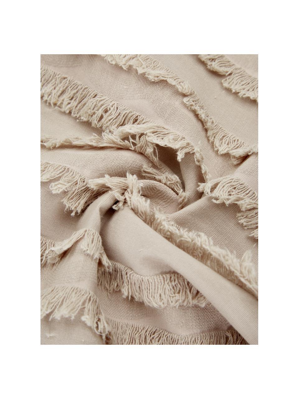Kissenhülle Jessie in Beige mit dekorativen Fransen, 88% Baumwolle, 7% Viskose, 5% Leinen, Beige, 45 x 45 cm