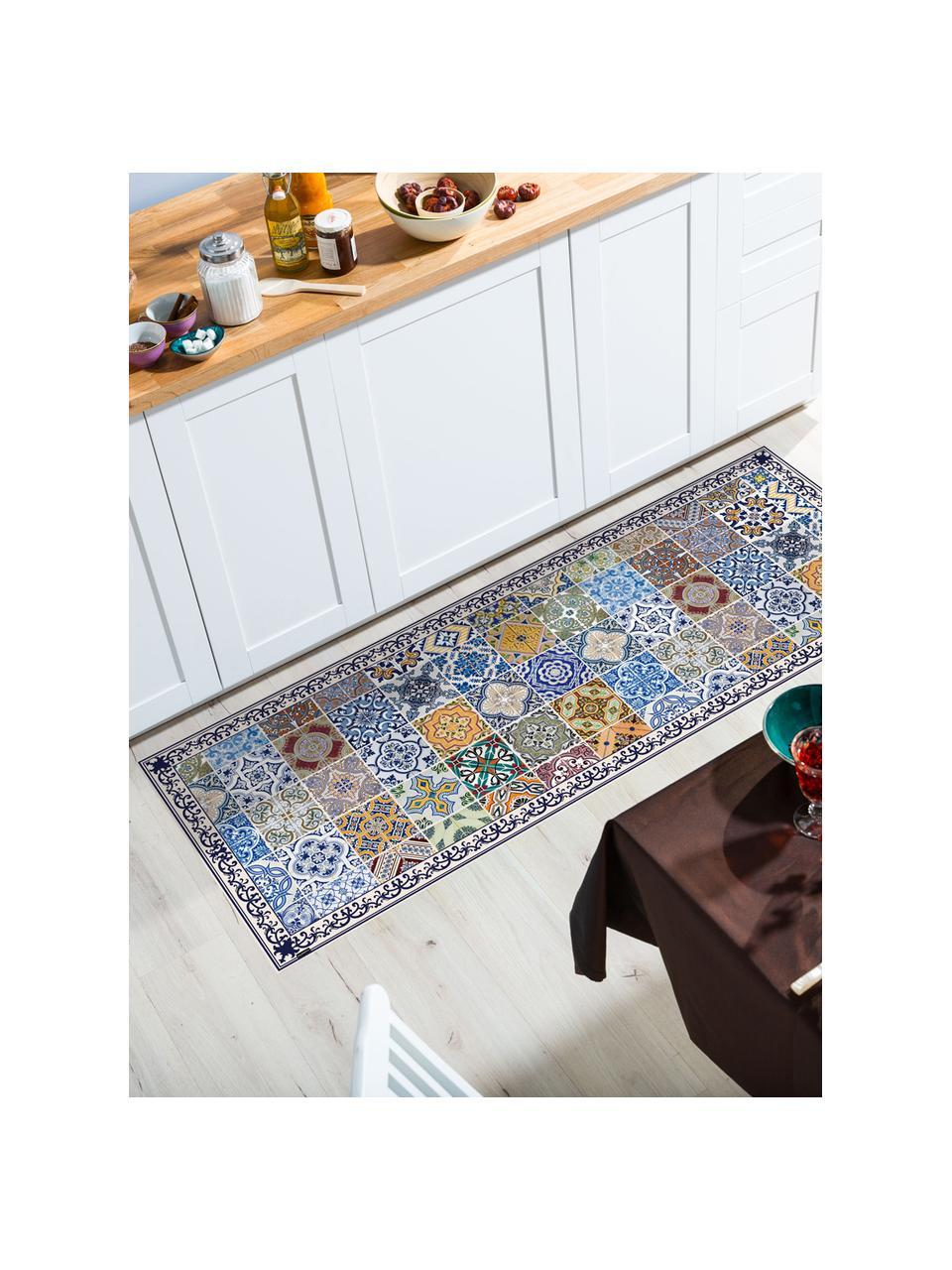 Vlakke vinyl vloermat Pablo met kleurrijke print, antislip, Recyclebaar vinyl, Multicolour, 65 x 255 cm