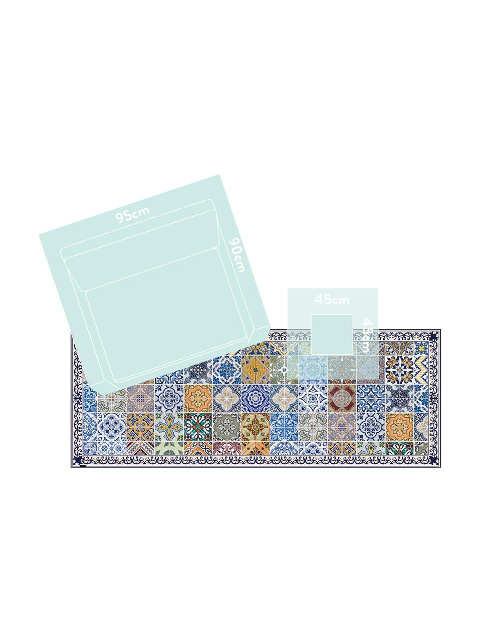 Flache Vinyl-Bodenmatte Pablo mit buntem Print, rutschfest, Vinyl, recycelbar, Mehrfarbig, 65 x 255 cm
