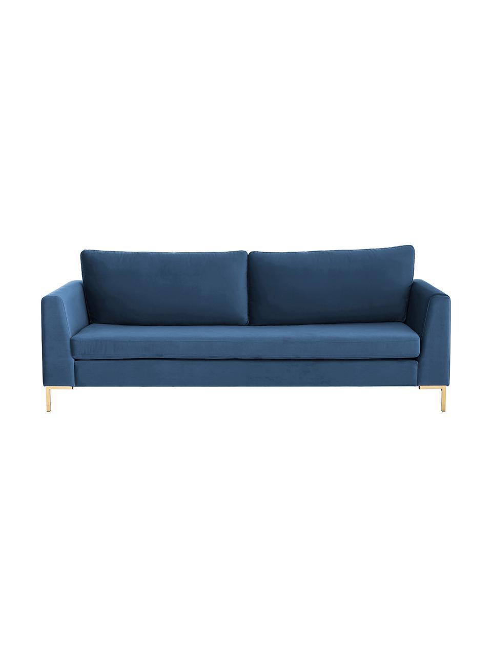 Samt-Sofa Luna (3-Sitzer) in Blau mit Metall-Füßen, Bezug: Samt (Polyester) Der hoch, Gestell: Massives Buchenholz, Füße: Metall, galvanisiert, Samt Blau, Gold, B 230 x T 95 cm