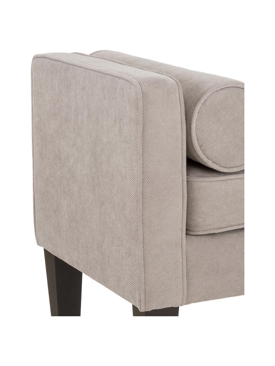 Bettbank Mia mit Kissen, Bezug: 92% Polyester, 8% Nylon, Beine: Birkenholz, lackiert, Bezug: Grau Beine: Schwarz, 115 x 61 cm