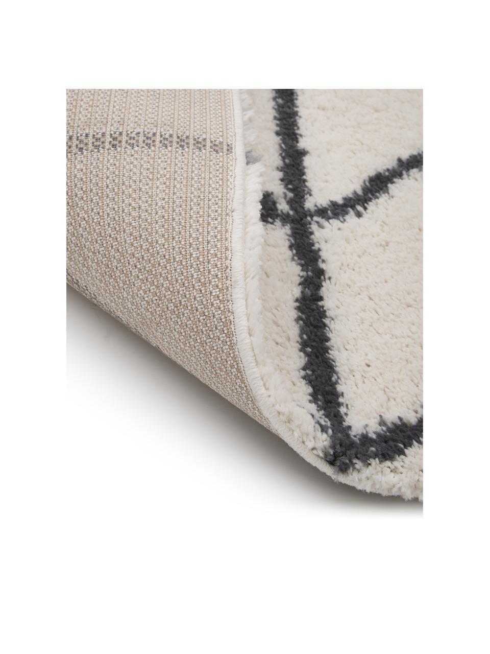 Hoogpolig vloerkleed Cera in crèmewit/donkergrijs, Bovenzijde: 100% polypropyleen, Onderzijde: 78% jute, 14% katoen, 8% , Crèmewit, donkergrijs, B 200 x L 300 cm (maat L)