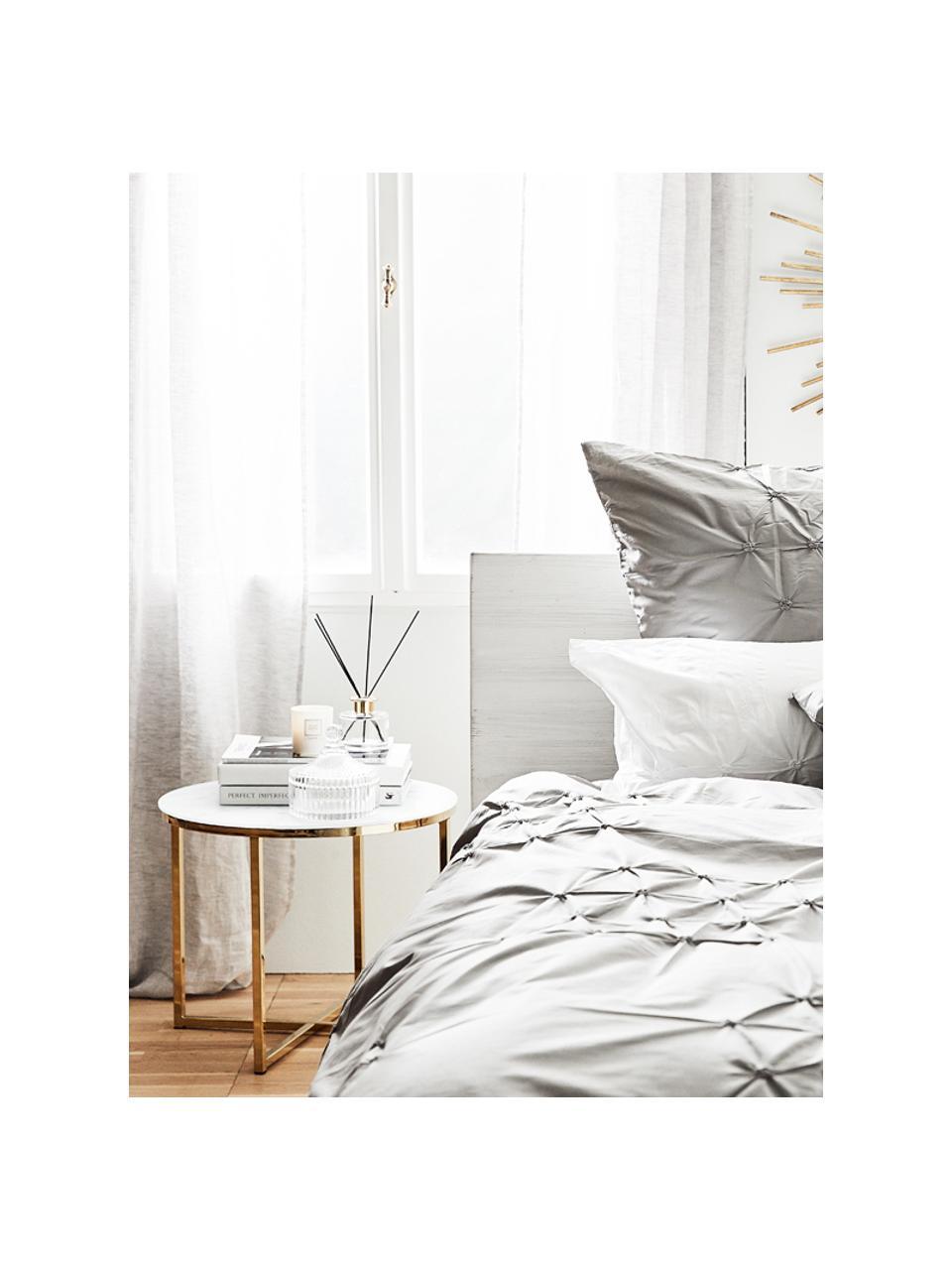 Stolik pomocniczy ze szklanym blatem Antigua, Blat: szkło, matowy nadruk, Stelaż: stal, mosiądzowany, Biały, mosiądz, Ø 50 x W 42 cm