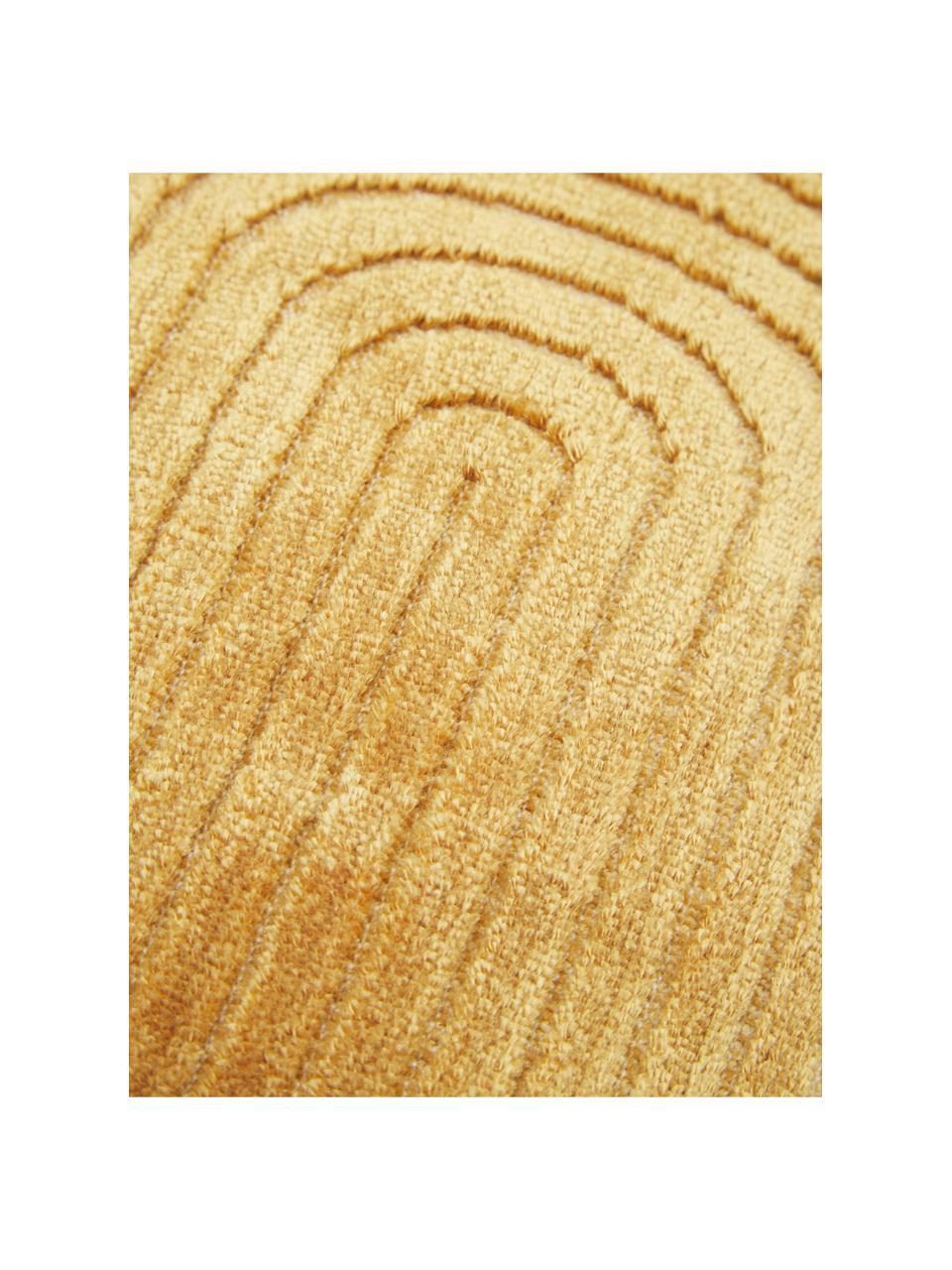 Samt-Kissenhülle Carraway mit Strukturmuster, Vorderseite: 51% Polyester, 49% Viskos, Rückseite: 100% Baumwolle, Senfgelb, 30 x 50 cm