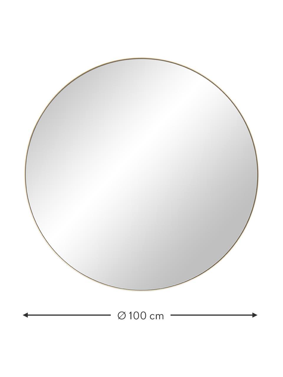 Runder Wandspiegel Ivy mit goldenem Metallrahmen, Rahmen: Metall, pulverbeschichtet, Rückseite: Mitteldichte Holzfaserpla, Spiegelfläche: Spiegelglas, Goldfarben, Ø 100 x T 3 cm