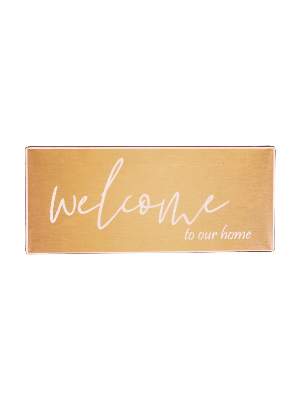 Wandschild Welcome to our home, Metall, beschichtet, Orange, Weiß, 31 x 13 cm