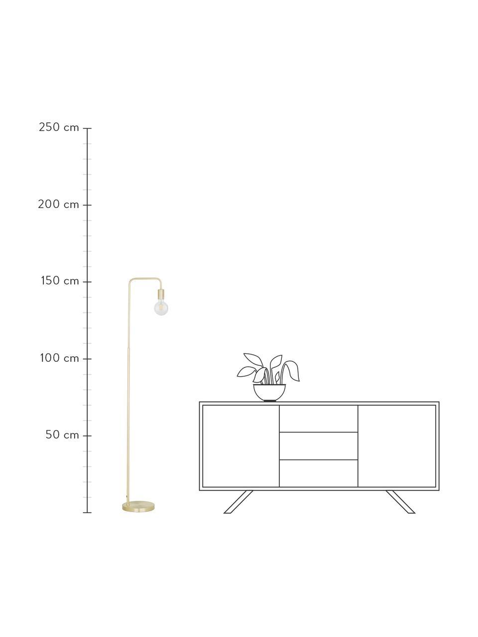 Lampa do czytania z metalu Flow, Mosiądz, szczotkowany, S 33 x W 153 cm
