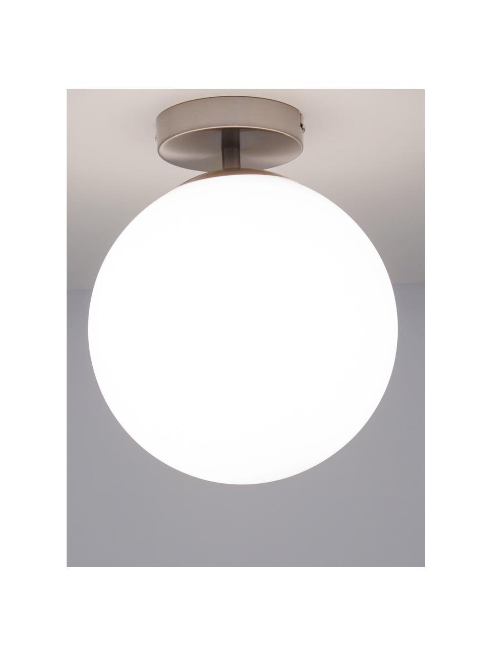 Lampada da soffitto in vetro Hitch, Baldacchino: metallo nichelato, Paralume: vetro, Baldacchino e rilegatura: argento opaco Paralume: bianco, Ø 25 x Alt. 30 cm