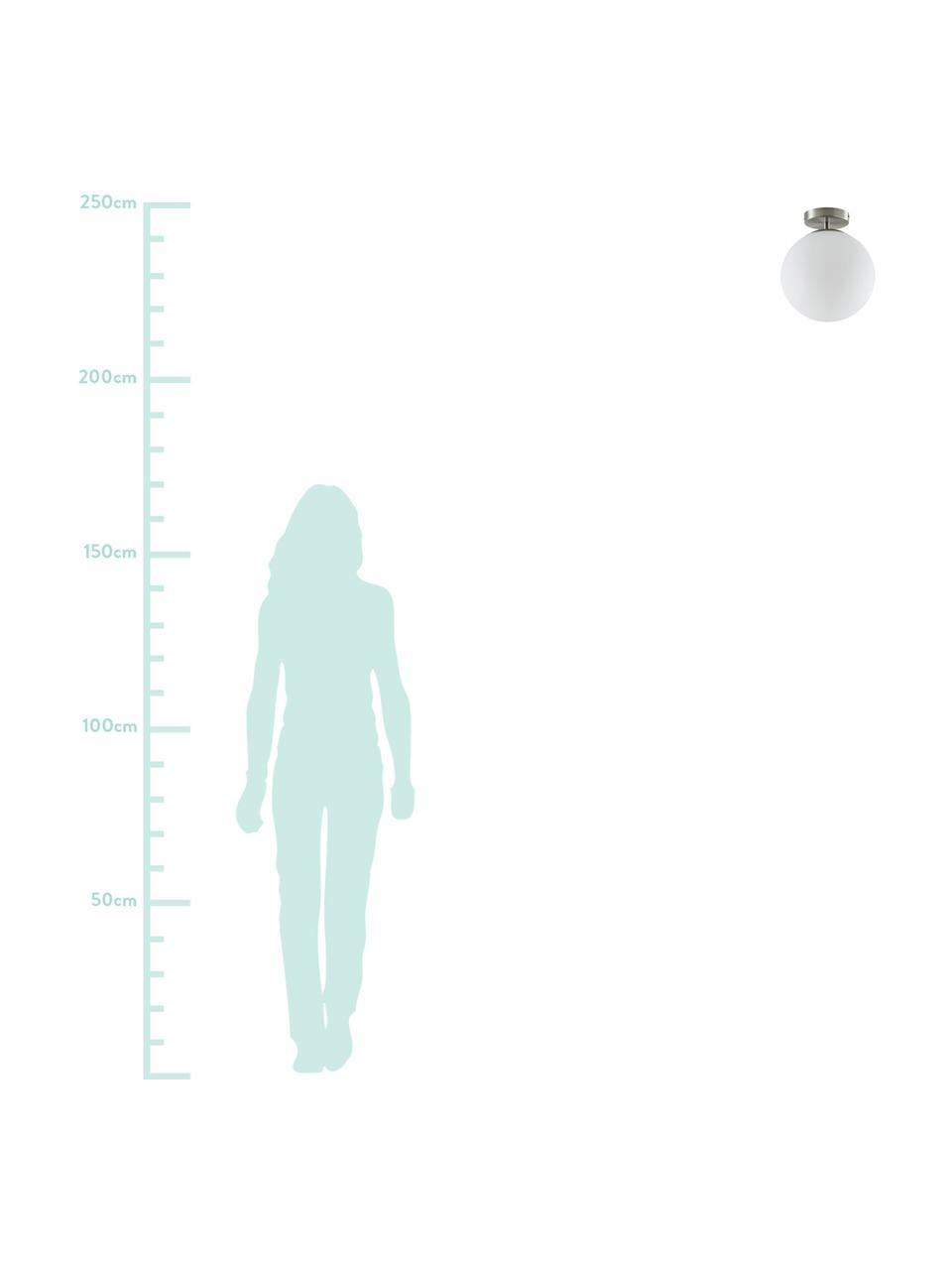 Kleine Deckenleuchte Hitch aus Glas, Baldachin: Metall, vernickelt, Lampenschirm: Glas, Baldachin und Fassung: Silberfarben, mattLampenschirm: Weiss, Ø 25 x H 30 cm