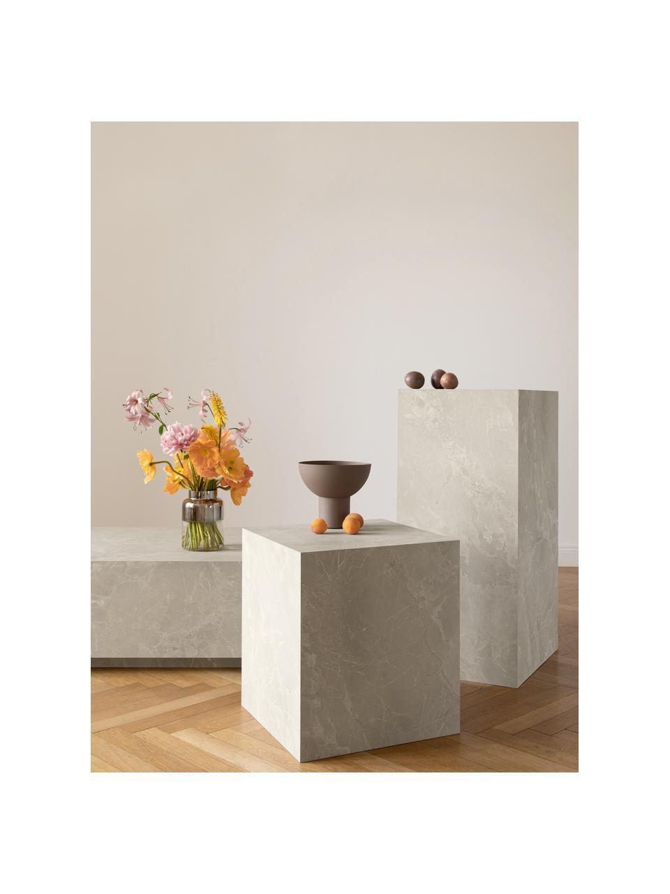 Zwevende salontafel Lesley in travertijn look, MDF bekleed met melaminefolie, Beige, travertijn look, 90 x 35 cm