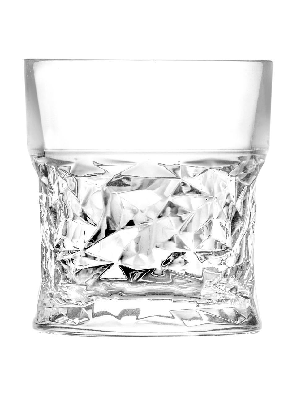 Kristallgläser Bicchiero mit geometrischem Relief, 6 Stück, Kristallglas, Transparent, Ø 9 x H 10 cm