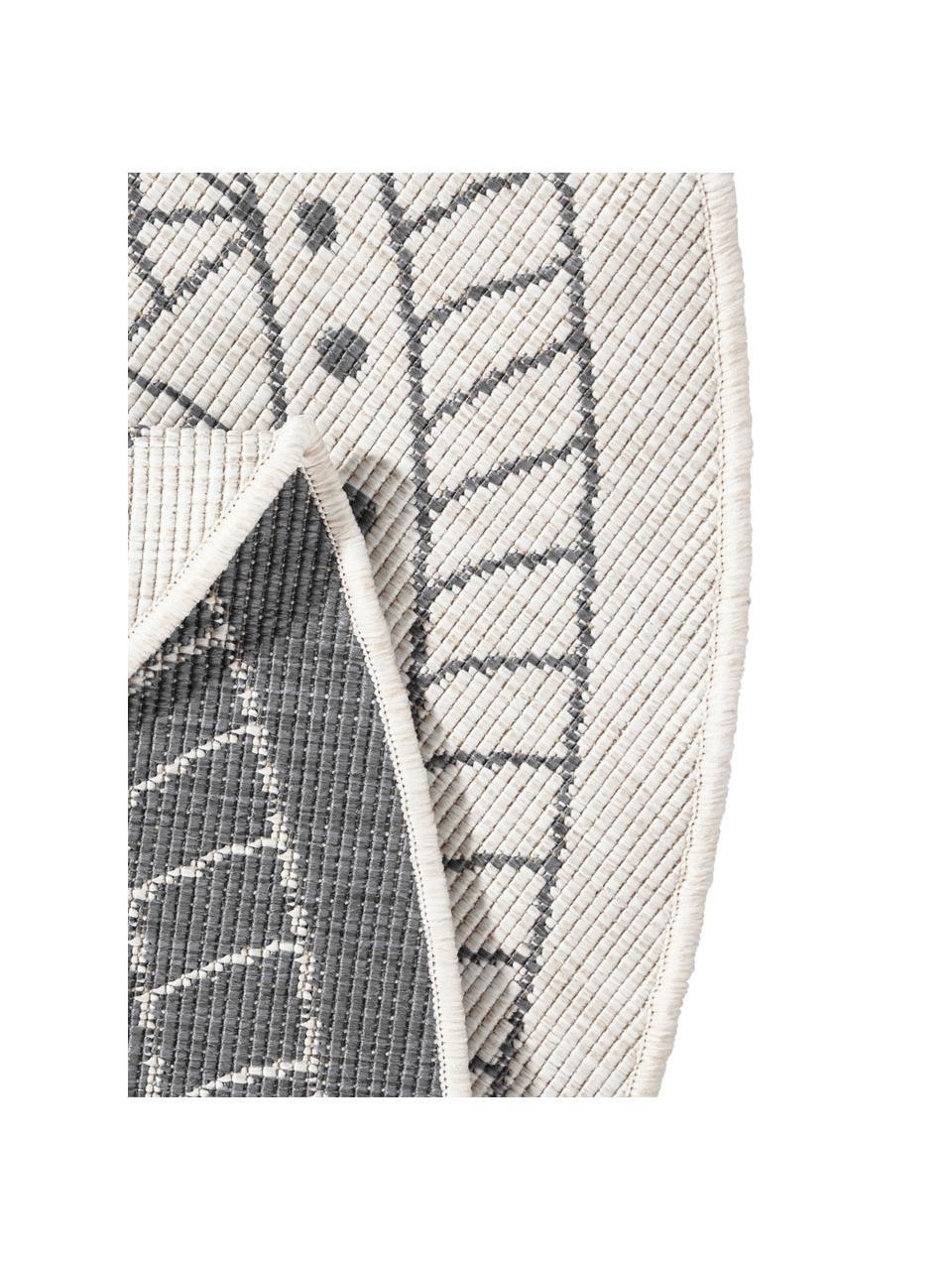 Runder In- & Outdoor-Wendeteppich Porto in Grau/Creme, gemustert, 100% Polypropylen, Grau, Cremefarben, Ø 140 cm (Größe M)