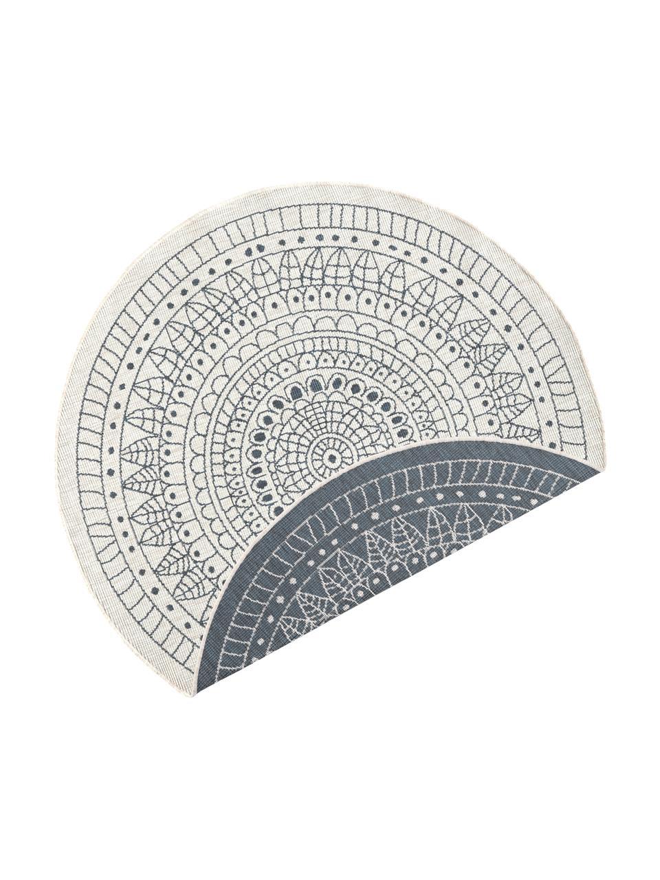 Okrągły dwustronny dywan wewnętrzny/zewnętrzny Porto, Szary, odcienie kremowego, Ø 140 cm (Rozmiar M)