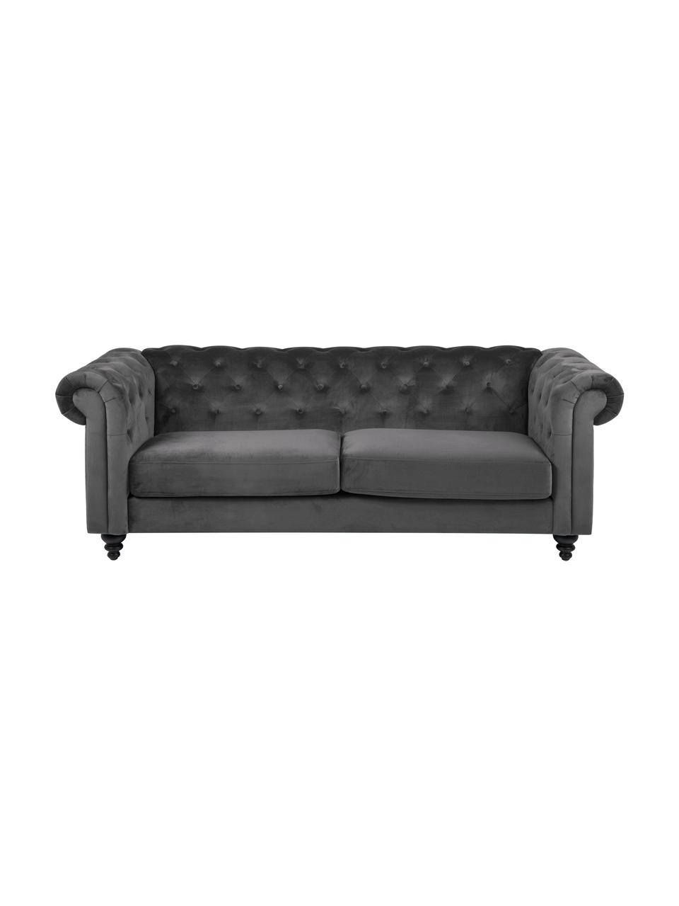 Fluwelen chesterfield bank Charlietown (3-zits) in donkergrijs, Bekleding: 100% polyester, Poten: rubberhout, gecoat, Donkergrijs, zwart, 219 x 88 cm