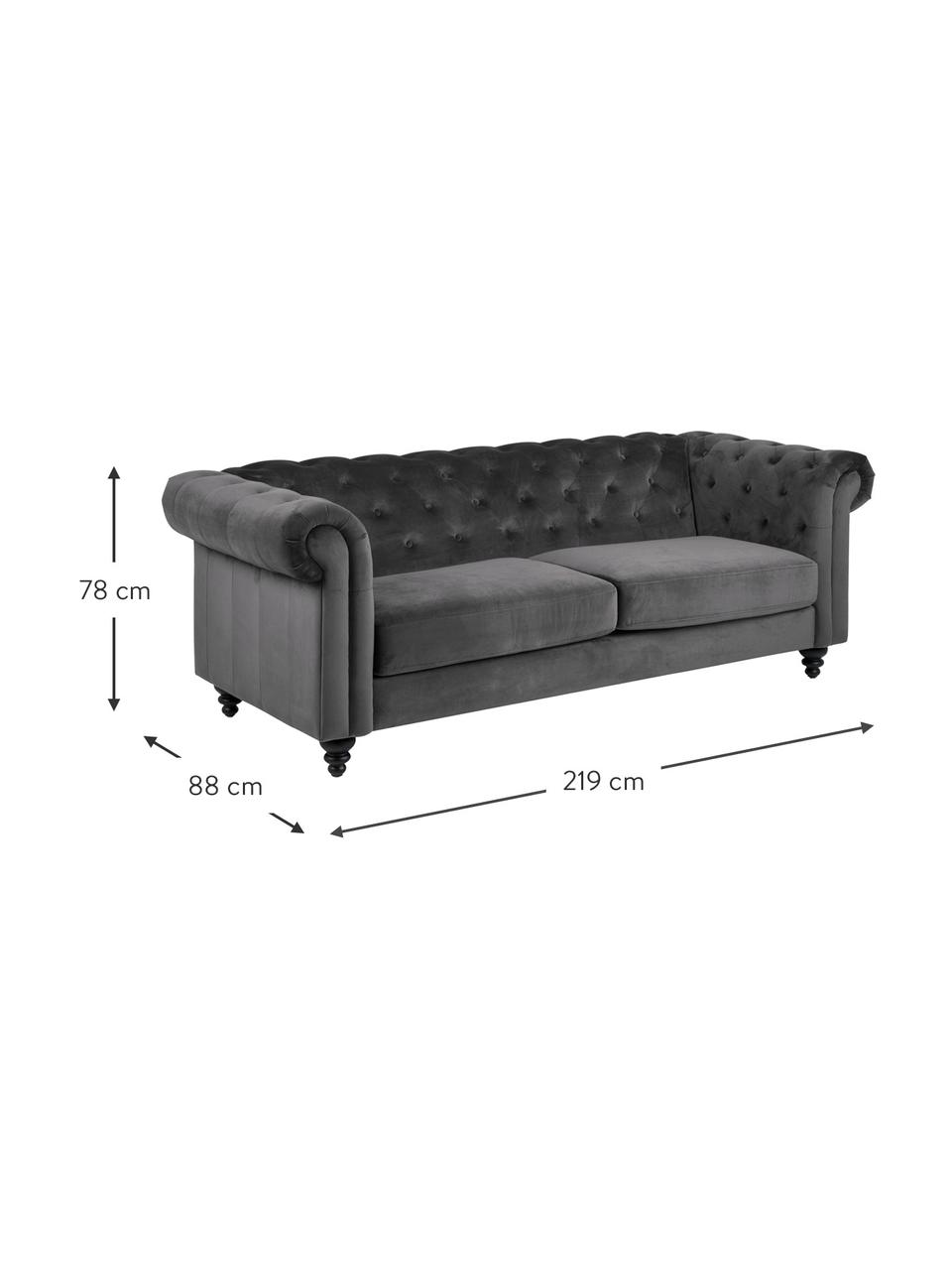 Chesterfield-Samt-Sofa Charlietown (3-Sitzer) in Dunkelgrau, Bezug: 100% Polyester Der hochwe, Beine: Gummiholz, beschichtet, Dunkelgrau, Schwarz, B 219 x T 88 cm