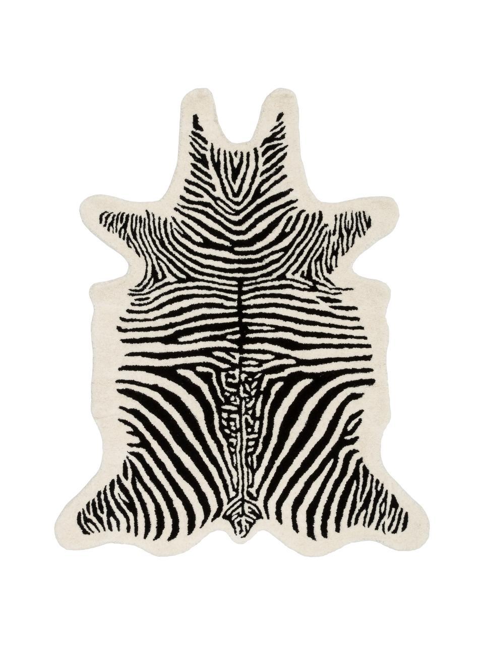 Handgetuft wollen vloerkleed Savanna Zebra, Bovenzijde: 100% wol, Onderzijde: 100% katoen Bij wollen vl, Zwart, crèmekleurig, B 160 x L 200 cm (maat M)