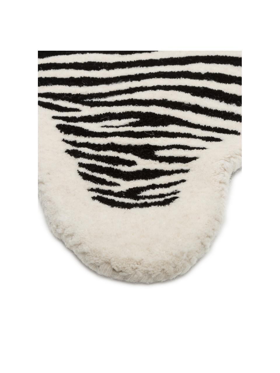 Handgetufteter Wollteppich Savanna Zebra, Flor: 100% Wolle, Schwarz, Creme, B 95 x L 120 cm (Größe XS)