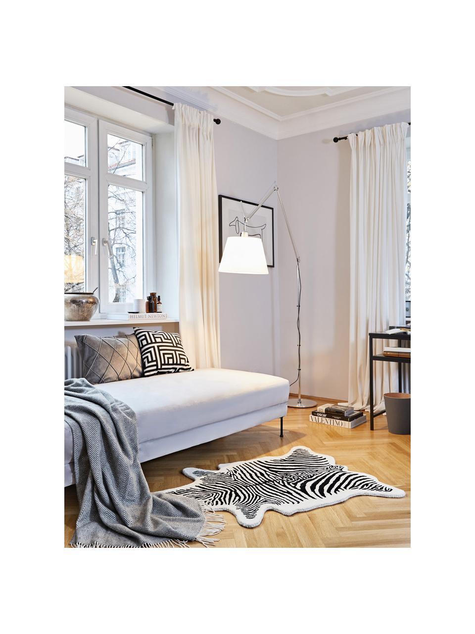 Handgetuft wollen vloerkleed Savanna Zebra, Bovenzijde: 100% wol, Onderzijde: 100% katoen, Zwart, crèmekleurig, 160 x 200 cm