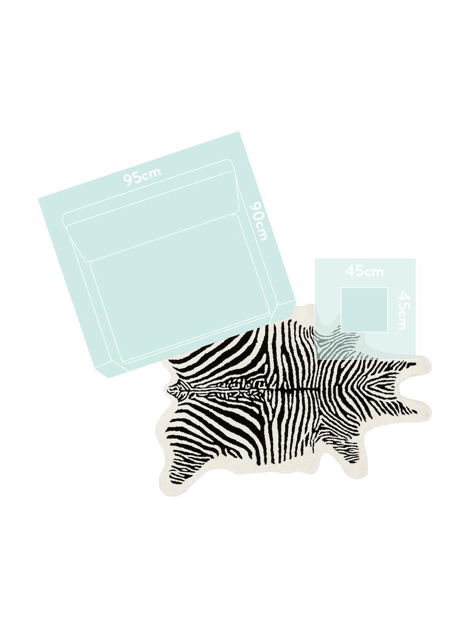 Tapis en laine noir tufté main Savanna Zebra, Noir, crème