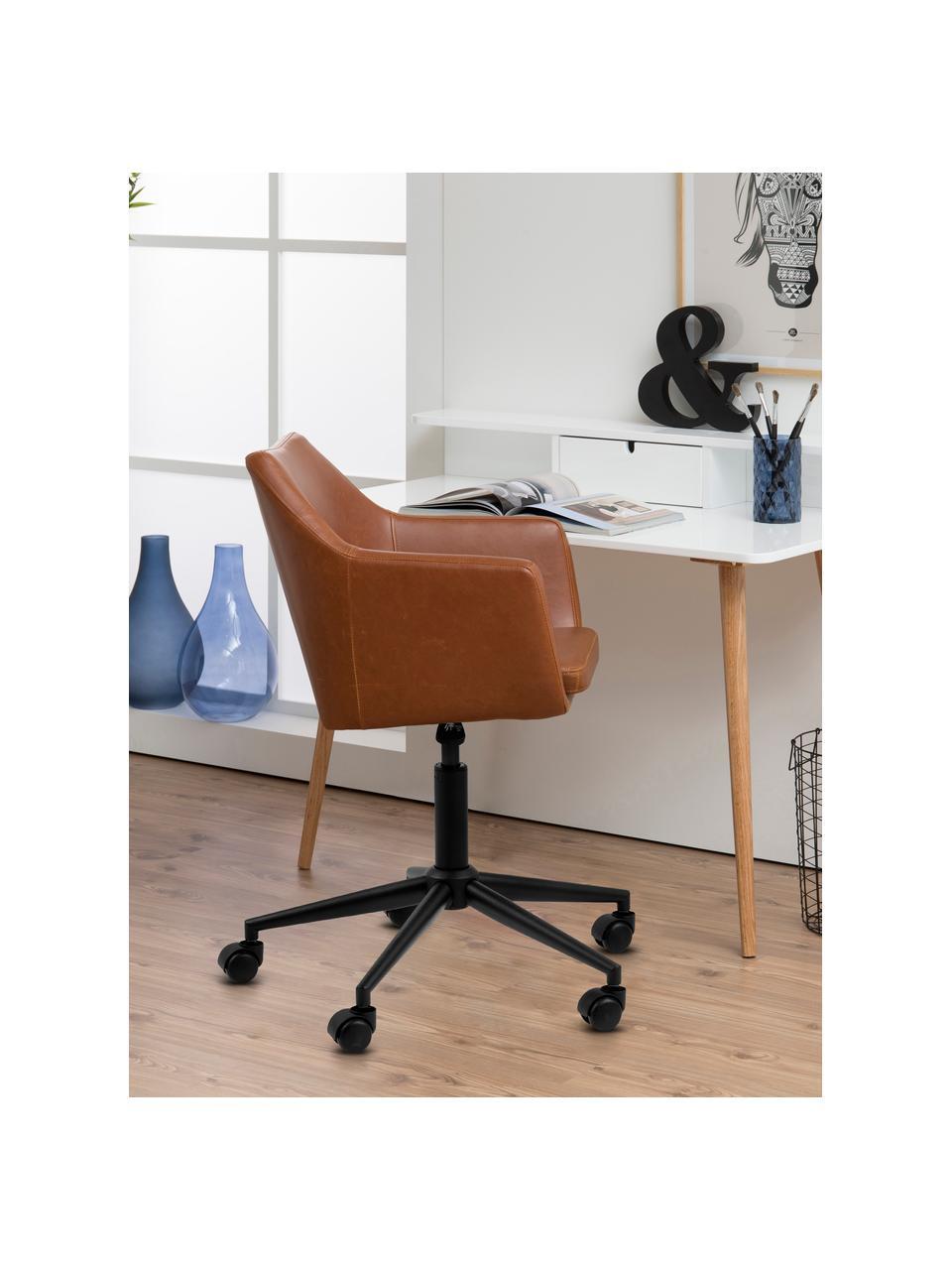 Krzesło biurowe ze sztucznej skóry Nora, obrotowe, Tapicerka: sztuczna skóra (poliureta, Nogi: metal malowany proszkowo, Koniakowy, S 58 x G 58 cm