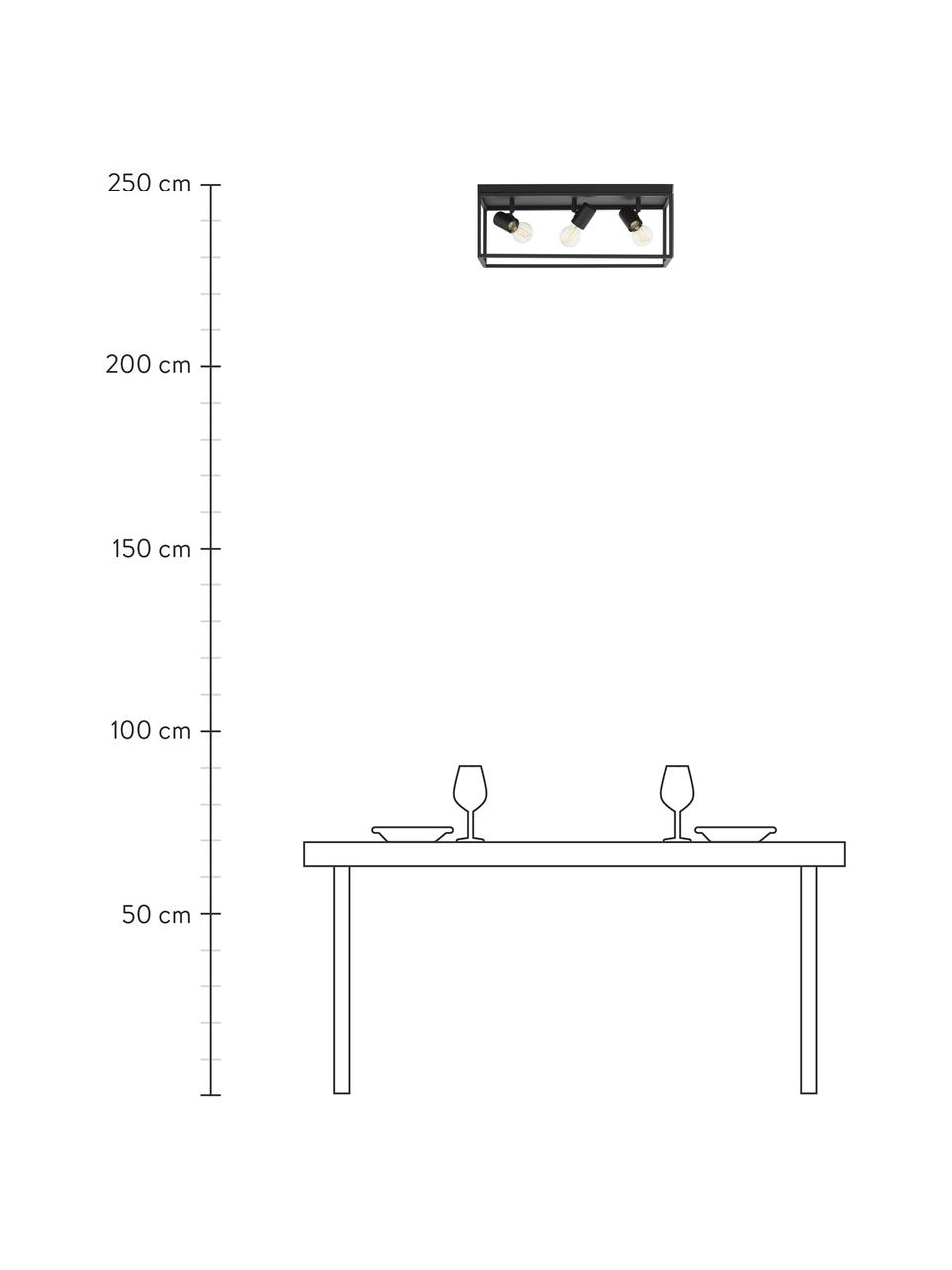 Deckenleuchte Silentina im Industrial-Style, Schwarz, 54 x 21 cm