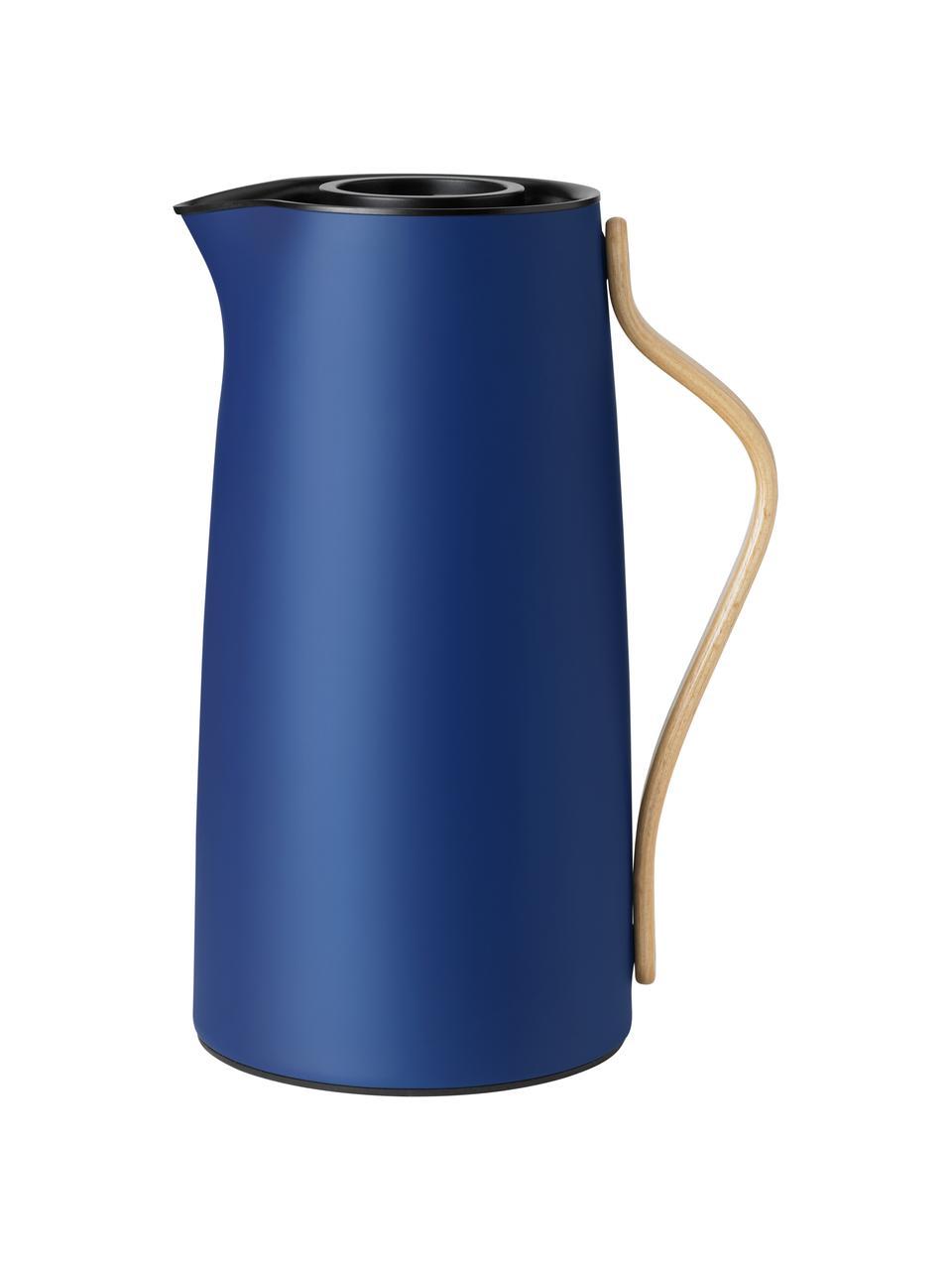 Isolierkanne Emma in Blau, 1.2 L, Korpus: Edelstahl, Beschichtung: Emaille, Griff: Buchenholz, Blau, Beige, 1.2 L