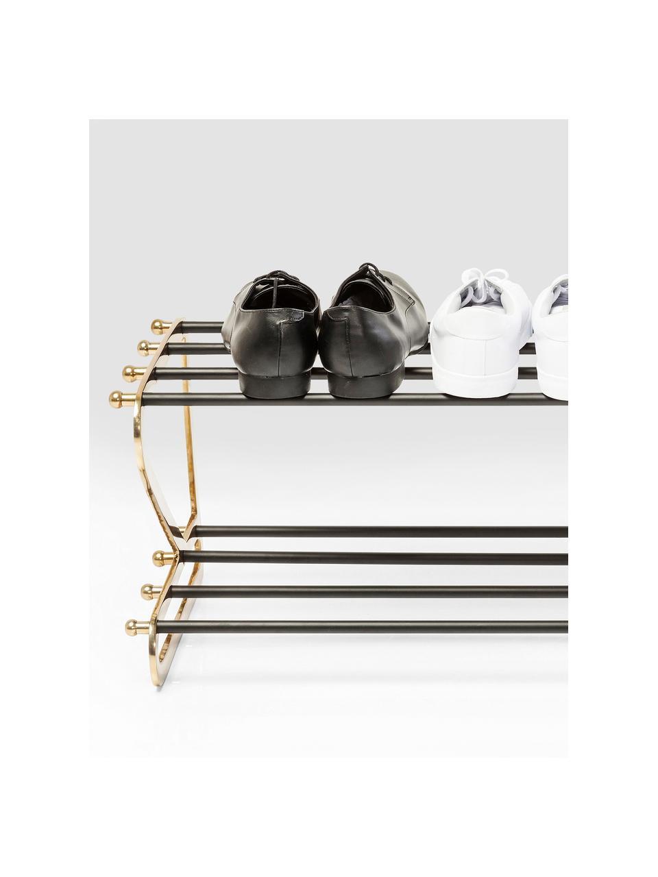 Półka na buty z metalu z 2 przedziałami Walk, Stelaż: aluminium, malowane prosz, Odcienie złotego, czarny, S 84 x W 34 cm
