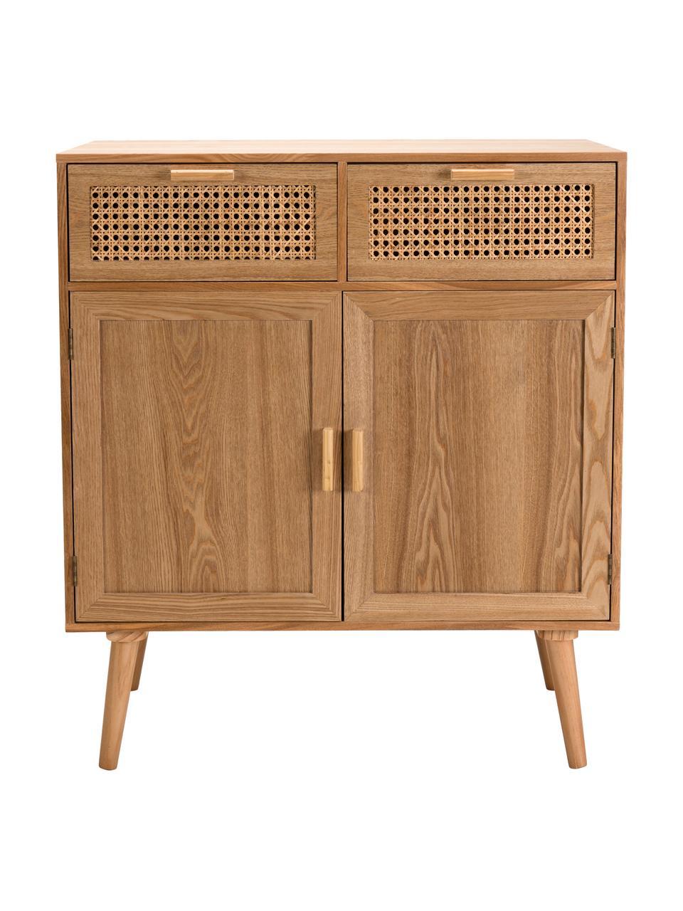 Komoda z drewna z plecionką wiedeńską Romeo, Korpus: płyta pilśniowa średniej , Drewno jesionowe, S 75 x W 86 cm