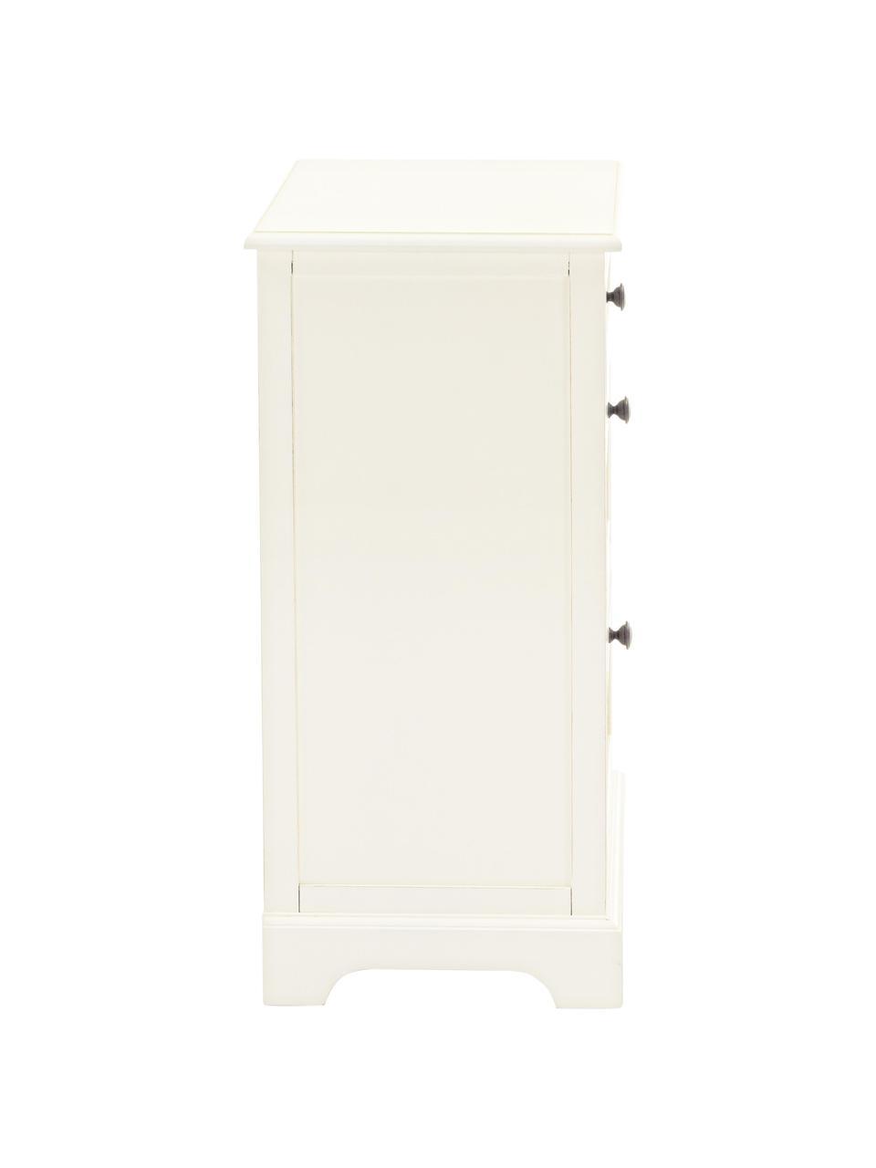 Nachttisch Annabel, Griffe: Zink, Weiß, Zink, 40 x 70 cm