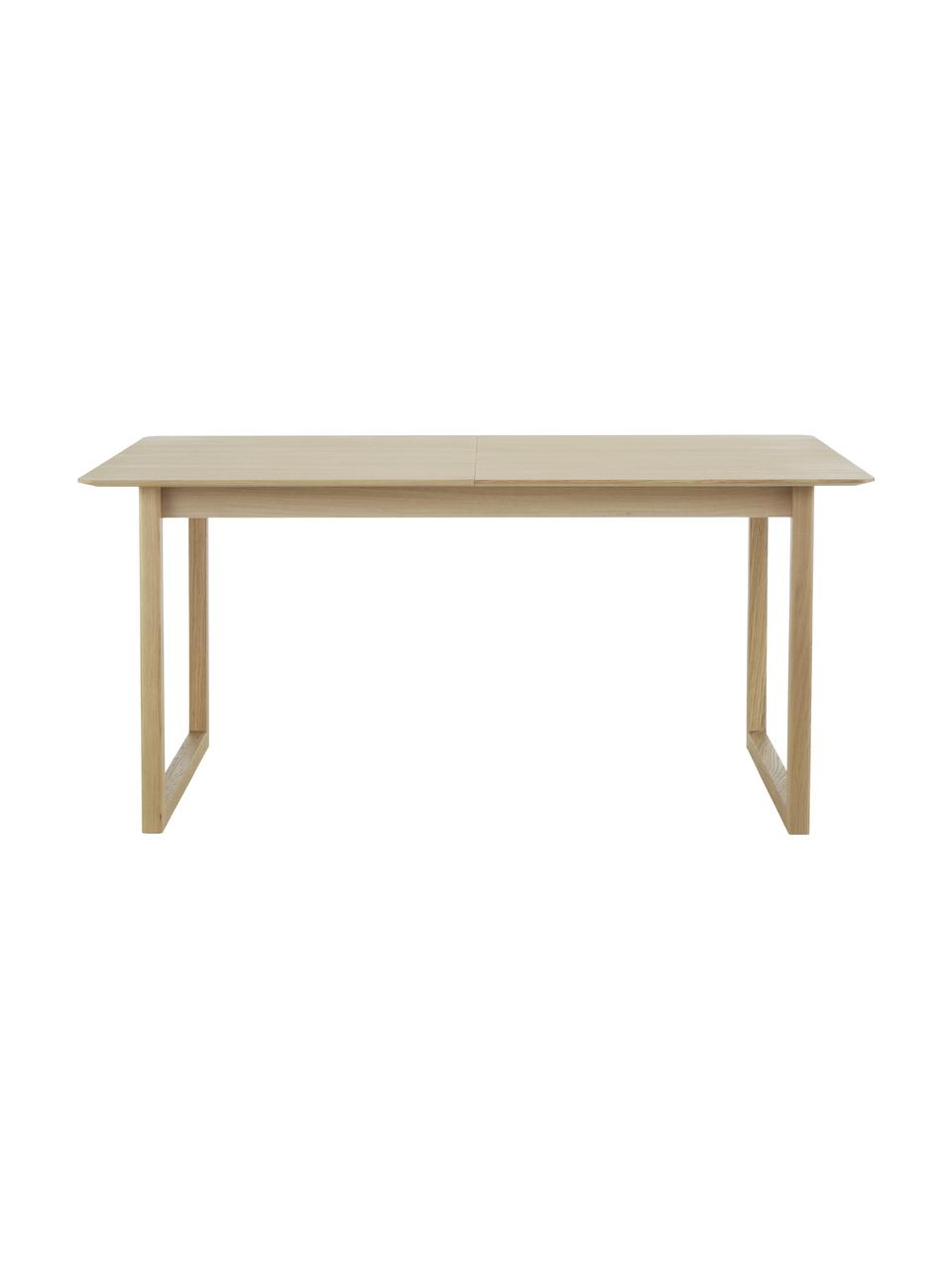 Ausziehbarer Esstisch Calla, 160 - 240 x 90 cm, Tischplatte: Mitteldichte Holzfaserpla, Beine: Massives Eichenholz, Helles Holz, B 160 x T 90 cm