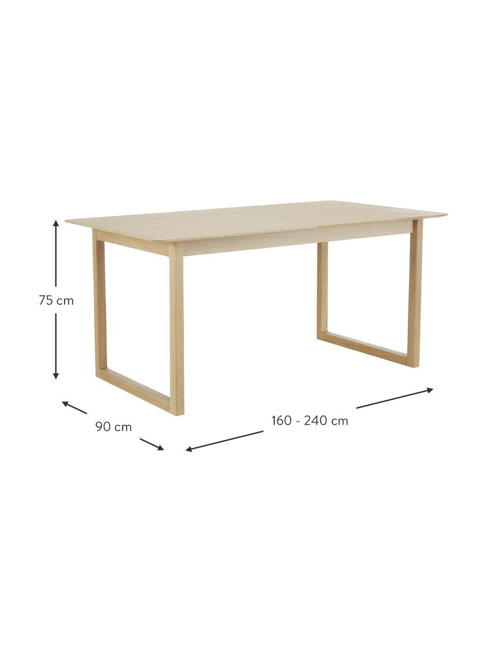Uitschuifbare eettafel Calla met eikenhoutfineer, Tafelblad: MDF met eikenhoutfineer, Poten: massief eikenhout, Licht hout, 160 x 90 cm