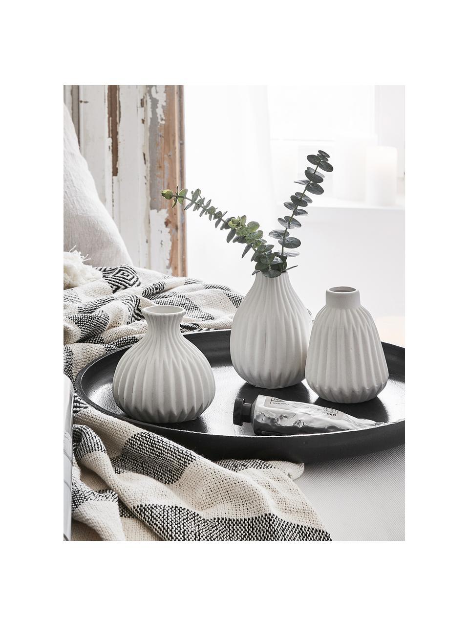 Vase porcelaine blanche Palo, 3 élém., Surface blanche, rugueuse, non émaillée