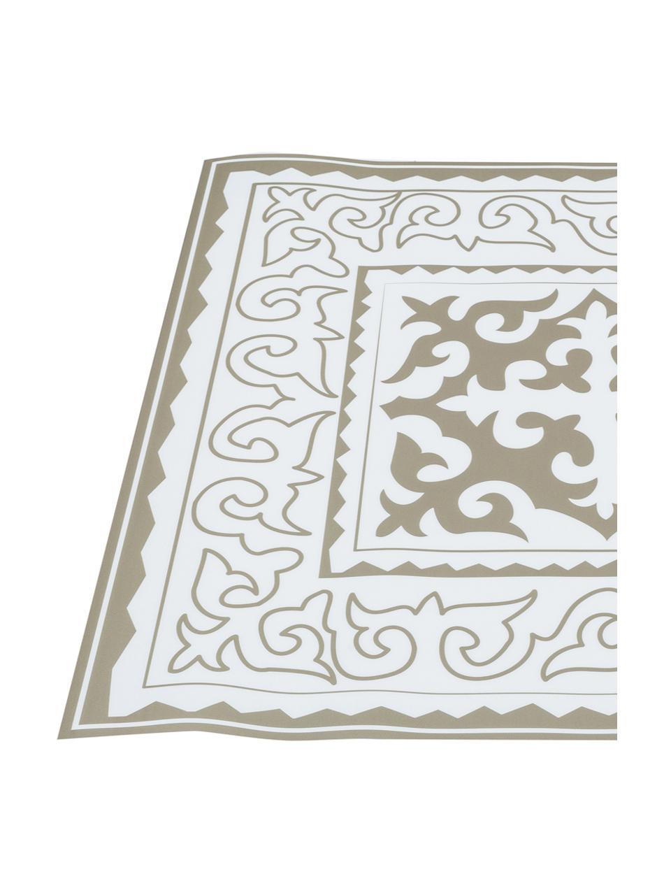 Tappetino antiscivolo taupe/bianco in vinile Aksana, Vinile riciclabile, Bianco, taupe, Larg. 136 x Lung. 203 cm