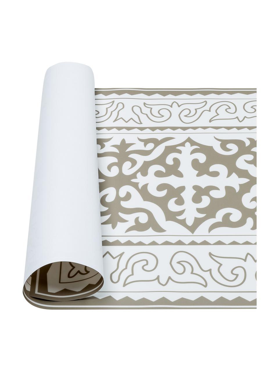 Vlakke vinyl vloermat Aksana in taupe / wit, antislip, Recyclebaar vinyl, Wit, taupe, 136 x 203 cm