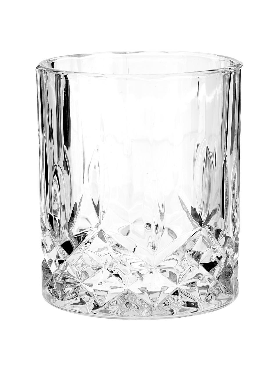 Gläser George mit Kristallrelief, 4 Stück, Glas, Transparent, Ø 8 x H 10 cm