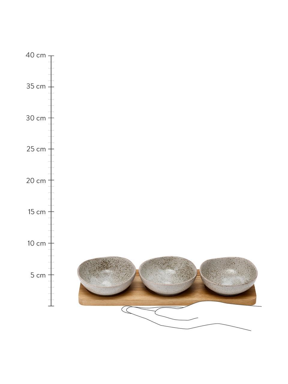 Set apéritif porcelaine et bois d'acacia Artisan, 4élém., Gris, bois d'acacia
