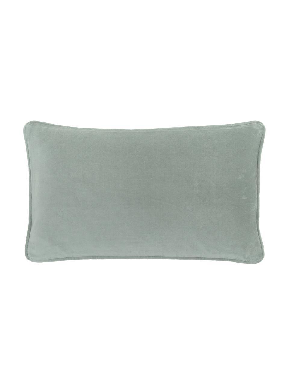 Housse de coussin rectangulaire velours vert sauge Dana, Vert sauge