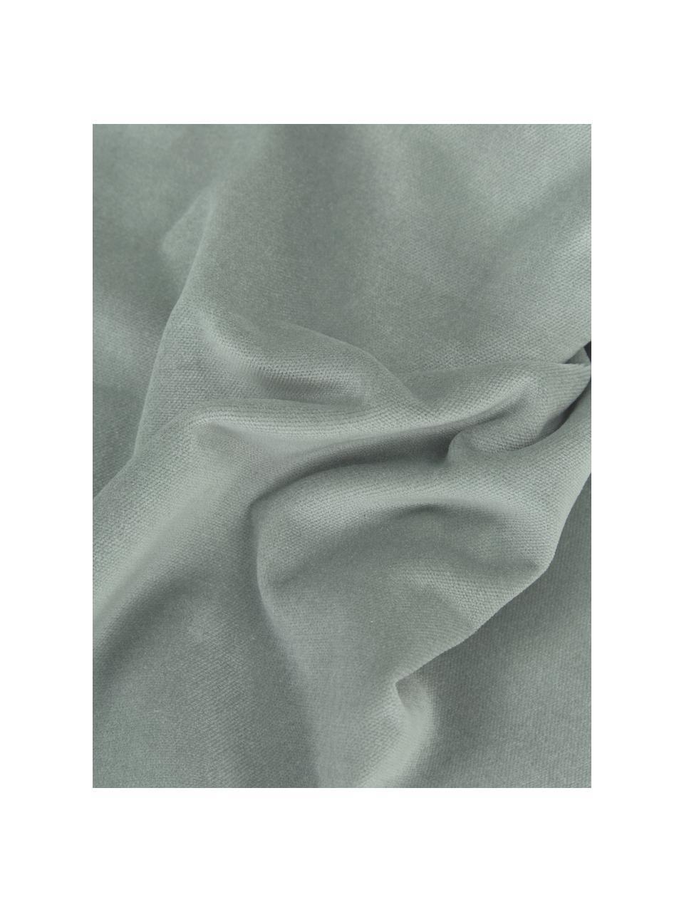 Effen fluwelen kussenhoes Dana in saliegroen, 100% katoenfluweel, Saliegroen, 30 x 50 cm