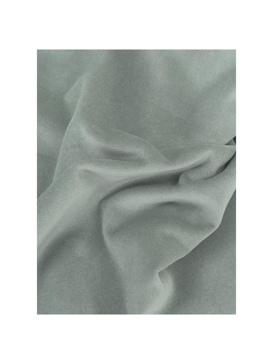 Federa arredo in velluto verde salvia Dana, 100% velluto di cotone, Verde salvia, Larg. 30 x Lung. 50 cm