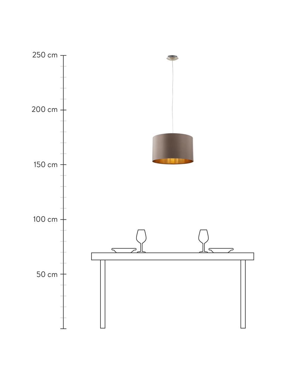 Lampada a sospensione Jamie, Baldacchino: metallo nichelato, Argentato, grigio-beige, Ø 38 x Alt. 23 cm