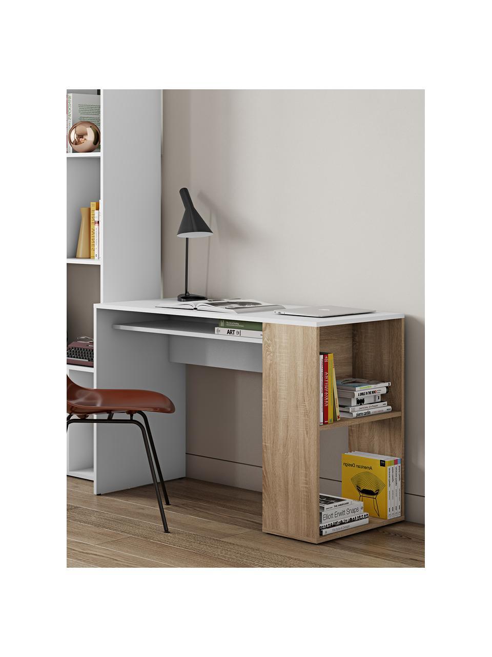 Schreibtisch Yale mit Stauraum, Spanplatte, melaminbeschichtet, Weiß, Eichenholz, B 114 x T 50 cm