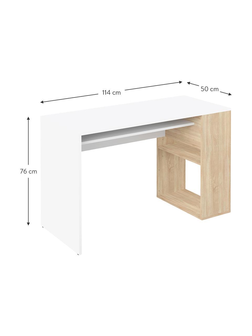 Bureau avec rangements Yale, Blanc, bois de chêne
