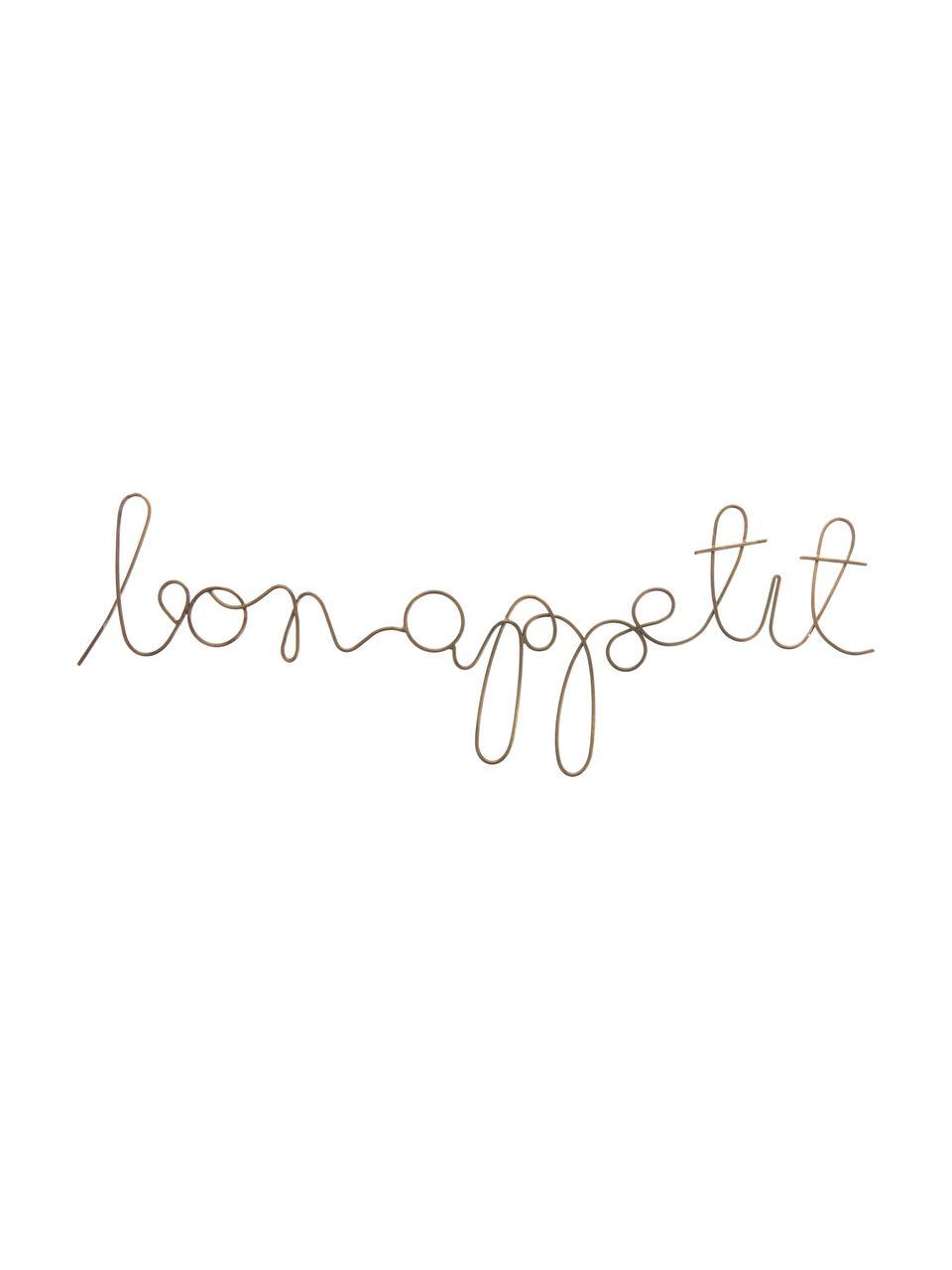 Wandobjekt Bon Appetit aus beschichtetem Stahl, Stahl, beschichtet, Messingfarben, 50 x 19 cm