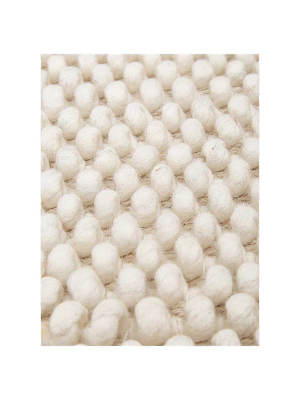 Handgestikt wollen vloerkleed Lovisa in ivoorkleur gevlekt, Bovenzijde: 60% wol, 40% viscose, Onderzijde: 100% katoen Bij wollen vl, Ivoorkleurig, B 160 x L 230 cm (maat M)