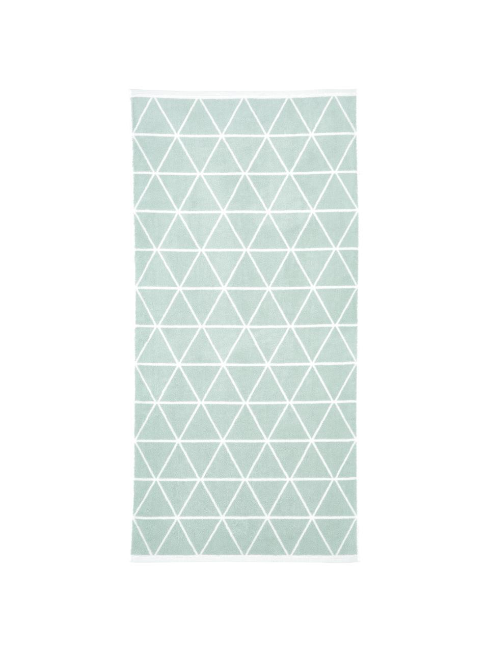 Lot de serviettes de bain réversibles Elina, 3élém., Vert menthe, blanc crème
